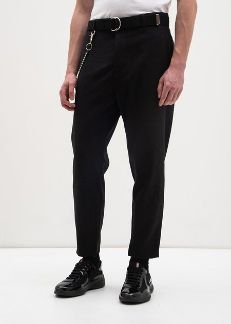 Carson Cartier Plaid Trouser w/ Chain - Black