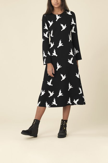 Stine Goya Long Sleeve Clara Dress - Doves Black