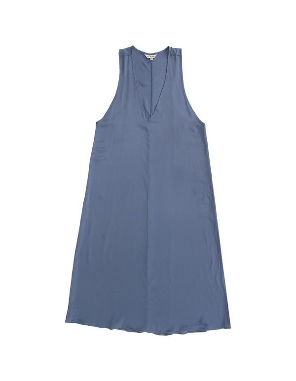 ALI GOLDEN V-NECK MIDI DRESS - BLUE