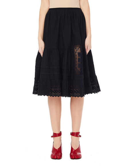 Blackyoto Cotton and Lace Yuki Skirt - Black