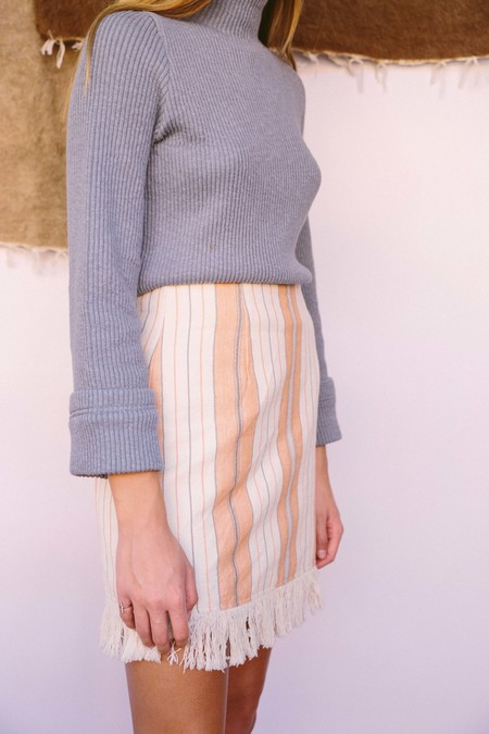 Majorelle Woven Stripe Saddle Skirt - Multi