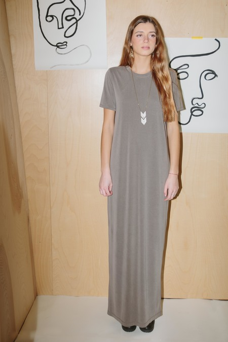 BELLA LUXX suede jersey elongated t-shirt dress - SAGE GREEN