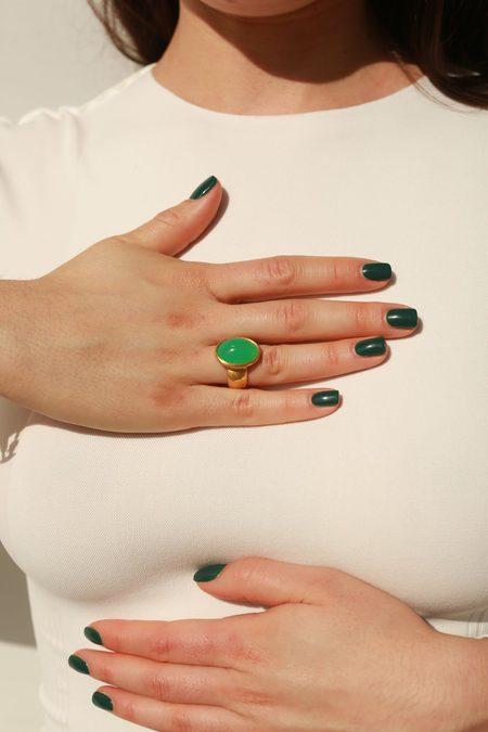 Darlene De Sedle Scarab Ring - Green Opal/14k Gold
