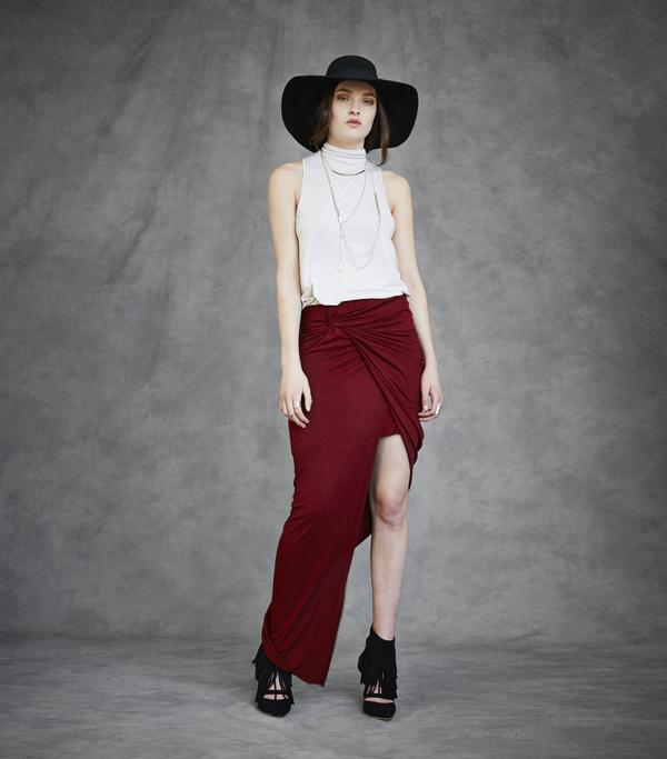 Laura Siegel Long Drape Jersey Skirt