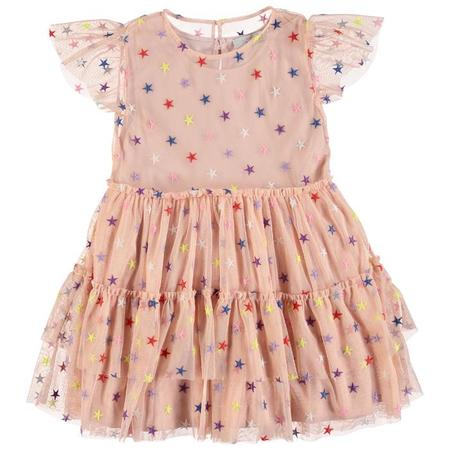 KIDS Stella McCartney Child Tulle Dress With Multicolour Embroidered Stars - Pink
