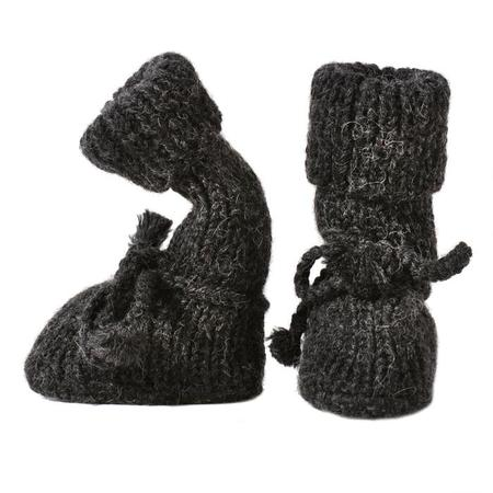 KIDS Tane Organics Alpaca Sock Booties with Ties - Coal Grey