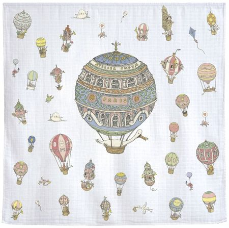 KIDS Atelier Choux Hot Air Balloons Swaddle Blanket - WHITE
