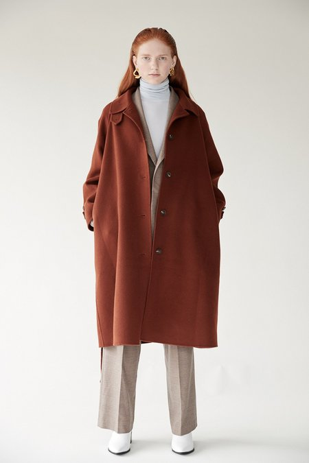Mijeong Park Single Breasted Wool Blend Handmade Coat - Brown