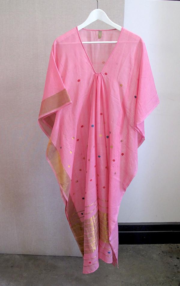 Pink sari caftan with gold border