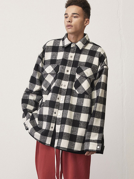 Unisex D.Prique Oversized Shirt Jacket - Black/White