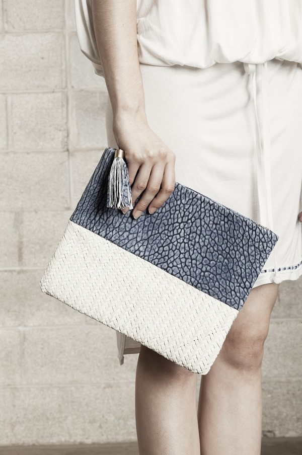 Laura Siegel Half and Half Leather Clutch