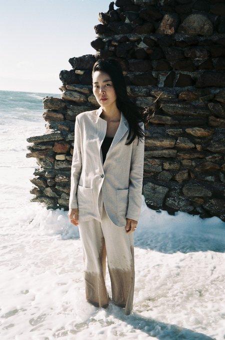 La.Bleue Jacket With Ceramic Button - Beige