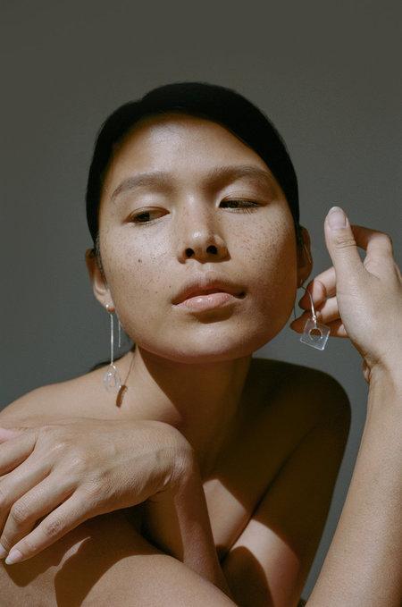 HighLow Glass Threader Earrings - Sterling silver
