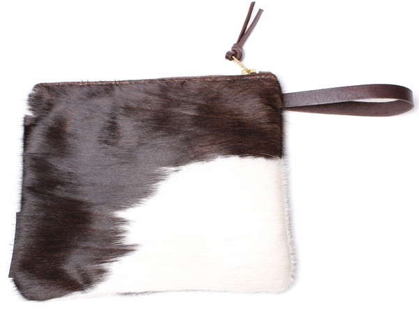 Minnie + George Calf Hair Zip in Dark Brown