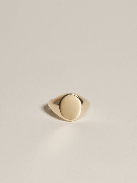 J. Hannah Oval Signet Ring -  14K Yellow Gold