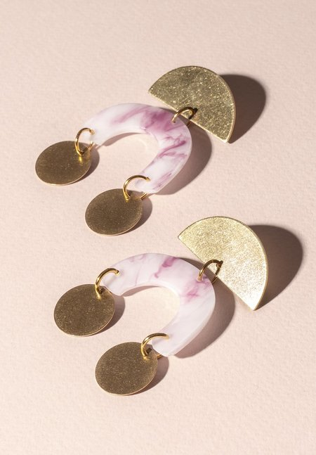 One Story shape dangle Earring - PINK