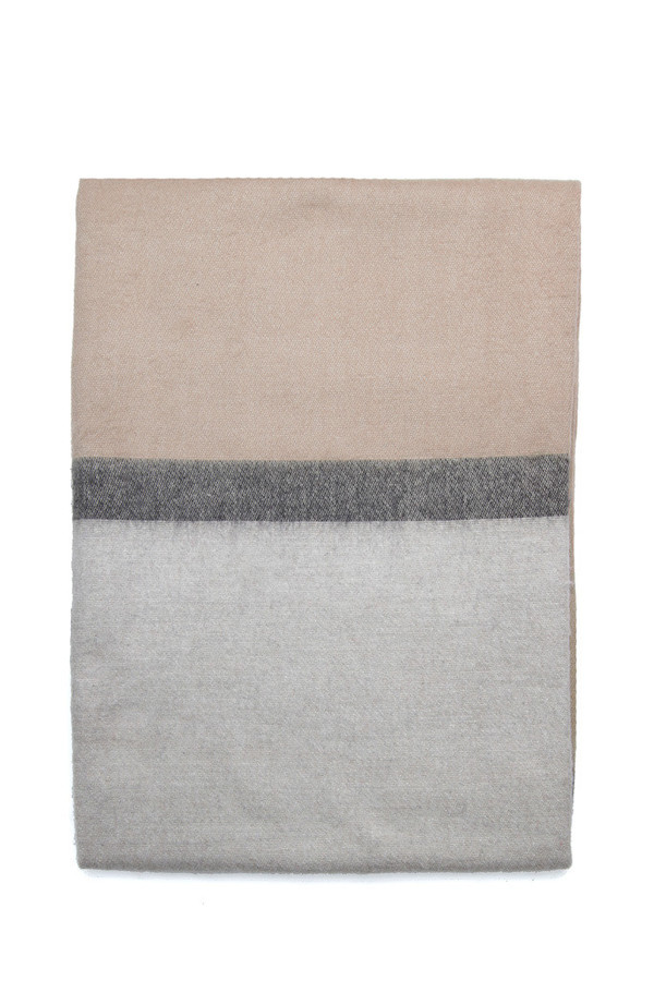 Alpaca Blanket Beige Charcoal Stripe