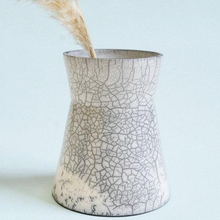 Lindsey Hampton Raku Vase - White/Black