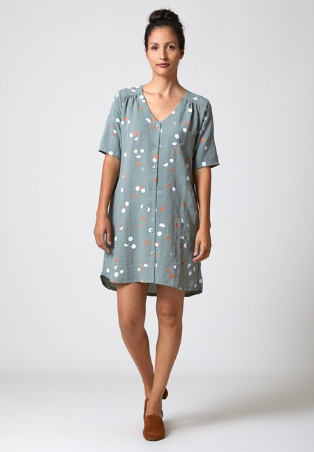 North Of West Phases Half Sleeve Dress - Blue Sage