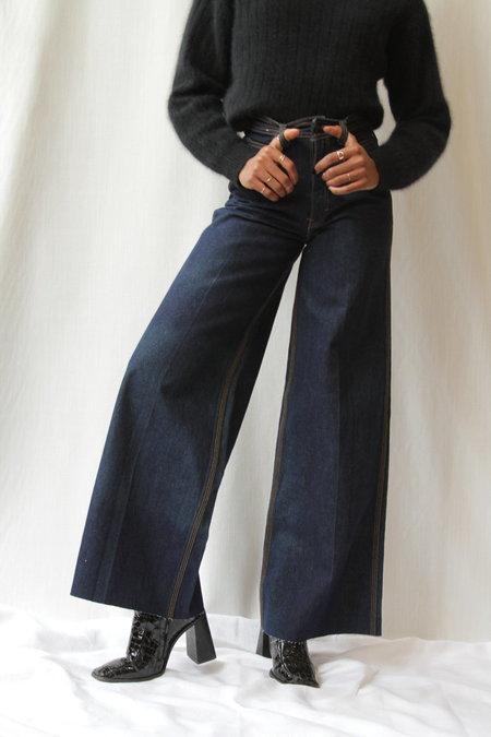 Vintage Desperado Wide Leg Denim Jeans - Dark Wash