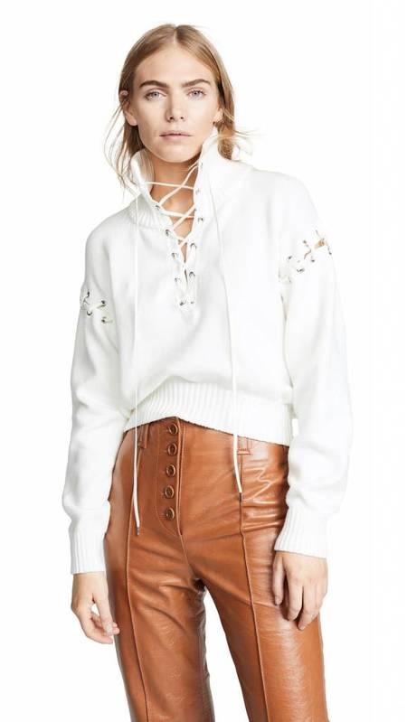 Adeam Lace Up Knit Sweatshirt - Ivory