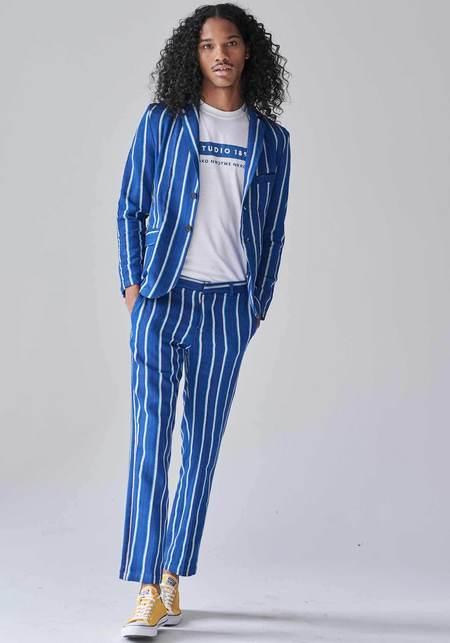 Unisex Studio One Eighty Nine Burkina Cotton Single Breasted Blazer - Blue/White Stripe