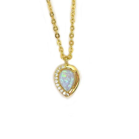 La Kaiser Blue Opal and Diamond Droplet Pendant