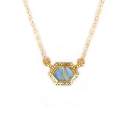 La Kaiser Rainbow Moonstone and Diamond Royal Pendant