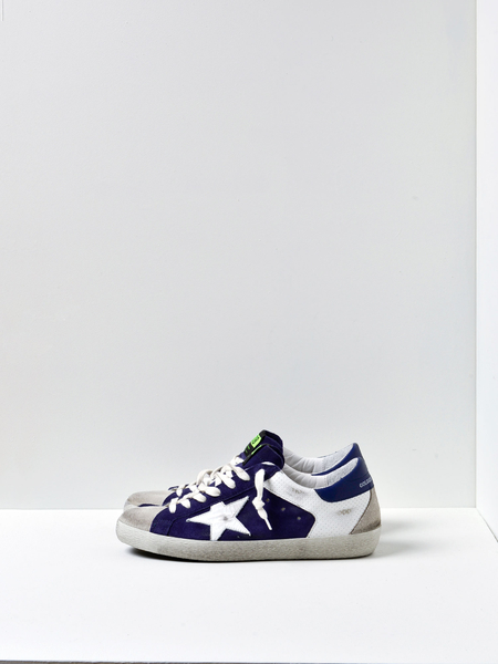 GOLDEN GOOSE DELUXE BRAND SUPERSTAR SNEAKERS - WHITE SPOT/NAVY SUEDE