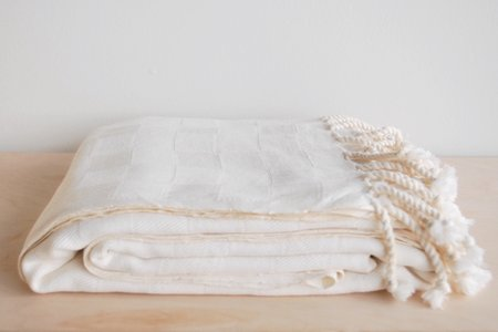 5th26 Checkered Turkish Blanket - Ivory