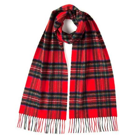 Burrows and Hare ROYAL STEWART TARTAN CLASSIC CASHMERE SCARF - red