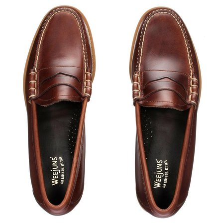 G.H Bass Weejuns Handmade Larson Pull Up Penny Loafers - Dark Brown