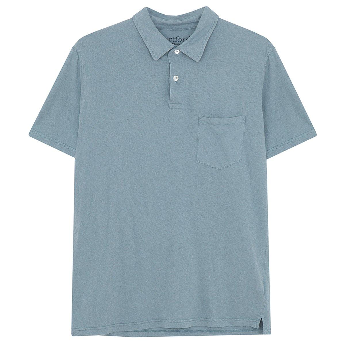 Hartford Soft Cottonlinen Jersey Polo Shirt Teal Garmentory