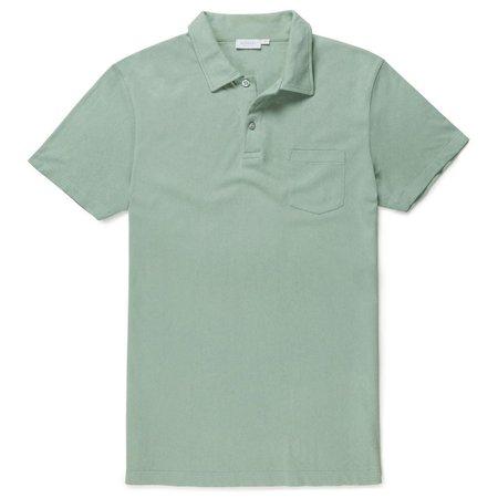 Sunspel Q75 Combed Cotton Riviera Short Sleeve Polo Shirt - MINT