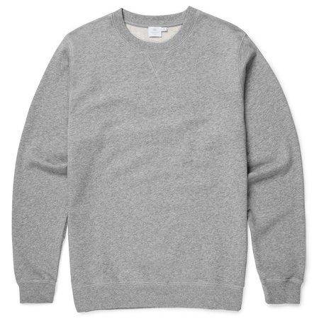 Sunspel Soft Loopback Cotton Q40 Sweatshirt - Grey Melange