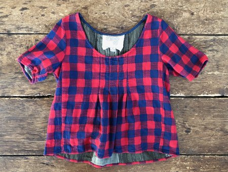 VINTAGE Preloved Shop Tee - Red Plaid