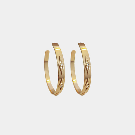 Elizabeth Stone Geo Hoop Earrings