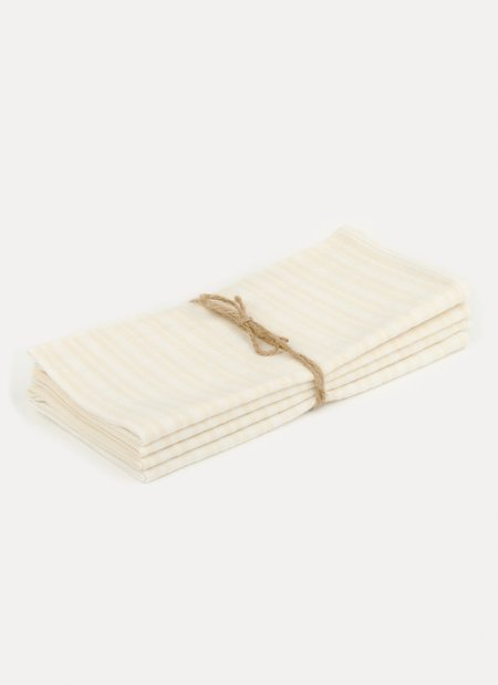 Heather Taylor Home Multi Stripe Napkin Set - Blanc