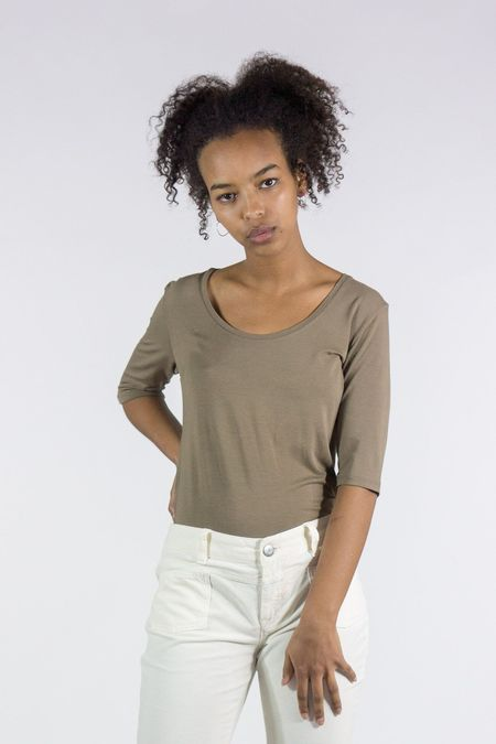 Majestic Soft Touch Elbow Sleeve Flat-Edge Scoop Neck Tee