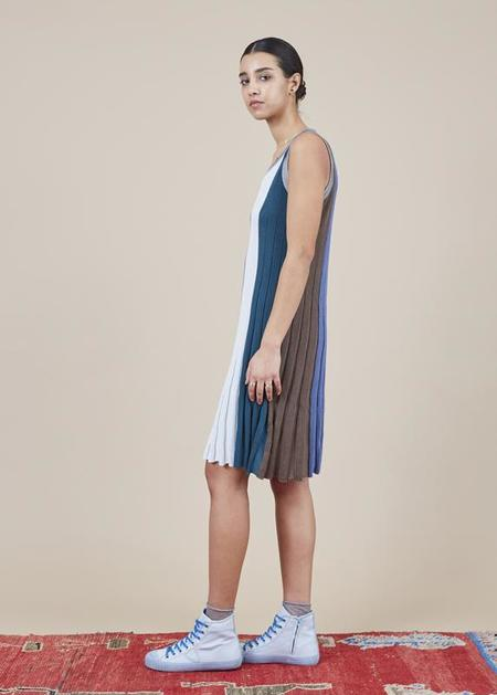 Sartoria Vico Mini Pleat Tank Dress - blue/multi stripe