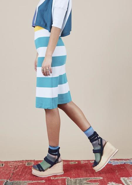 Sartoria Vico Striped A-Line Skirt - ice/emerald/yellow