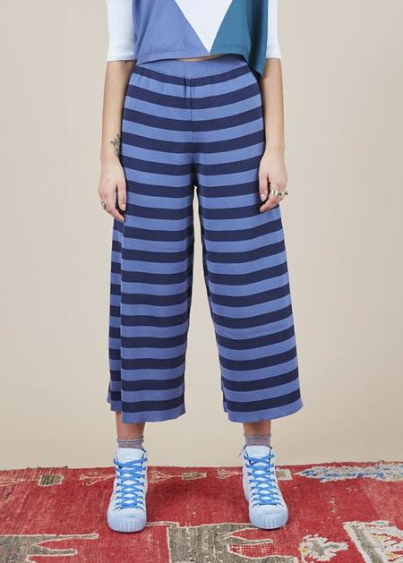 Sartoria Vico Striped Knit Culottes - blue/indigo