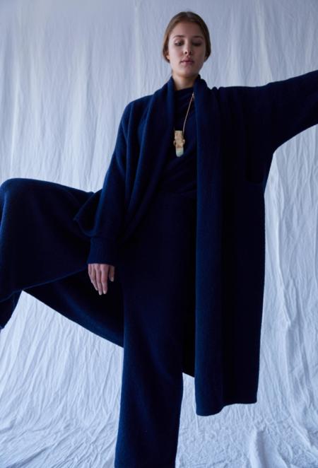 Atelier Delphine Extra Long Haori Alpaca Coat - Navy