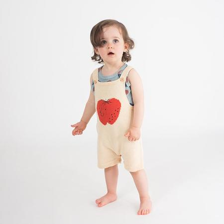 KIDS Bobo Choses Baby Knitted Overall With Red Strawberry - Cream