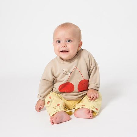 KIDS Bobo Choses Baby Sweatshirt With Red Cherry Print - Taupe Brown