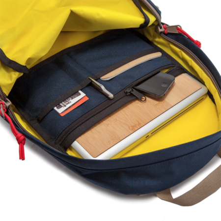 Topo Designs Daypack - Navy/Brown Leather