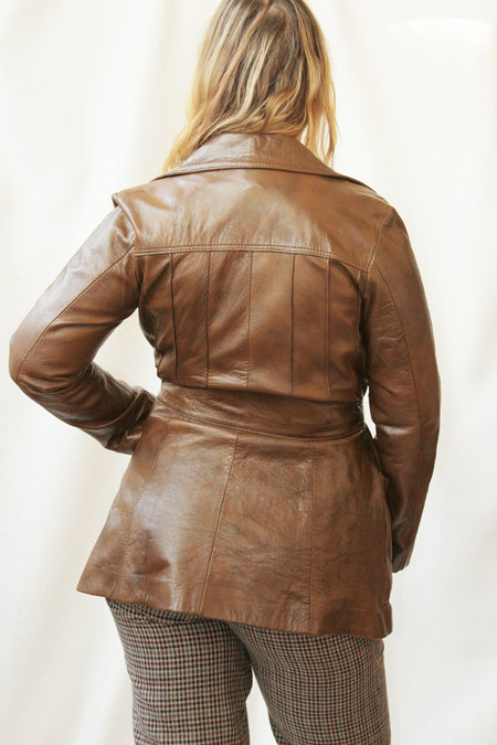 Genuine Leather Vintage Short Leather Trench - Brown