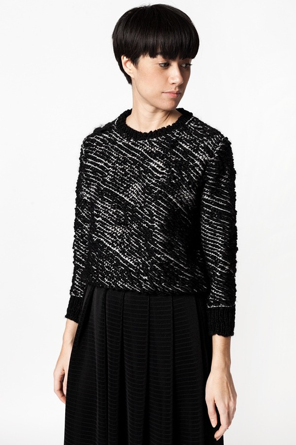 Kieley Kimmel Knit Weave Pullover - black