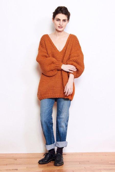 Mr. Mittens Oversized V Neck Wool Sweater - Burnt Orange