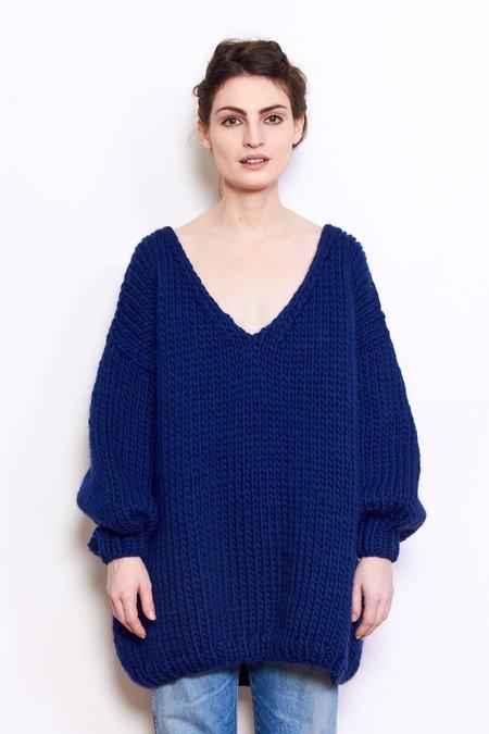 Mr. Mittens Oversized V Neck Wool Sweater - Navy